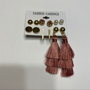 NWOT 6 Pair Gold Pearl Stud Tassel Earrings